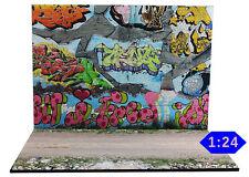 Diorama présentoir Mur tagué / Graffiti wall - 1/24ème - #24-2-E-E-006