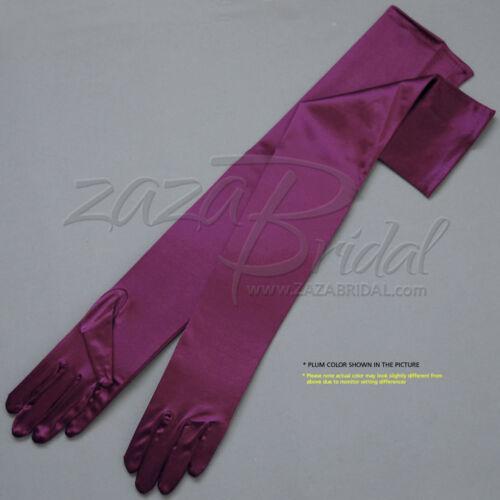 "Various Colors 23.5/"" Long Shiny Stretch Satin Dress Gloves Opera Length 16BL"