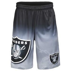 Oakland-Raiders-NFL-Gradient-Silver-Black-Big-Logo-Gradient-Training-Shorts-FREE