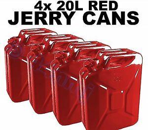 4 x FUEL STORAGE JERRY CANS 20lt Diesel / Petrol - RED