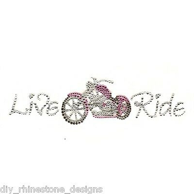 Iron-On Rhinestone Design Pink Motorcycle Live Ride Transfer Biker Bling Motif