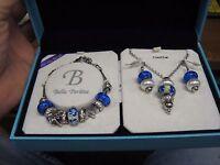 Bella Perlina Charm & Crystal Bead Bracelet Earrings & Necklace Set Blue Beach