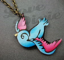 Lonesome Golondrina Tatuajes Collar Azul Rosa Rockabilly Kitsch Emo Diy