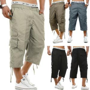 Mens Joggers 3//4 Long Knee Length Shorts Elasticated Waist Three Quarter Shorts