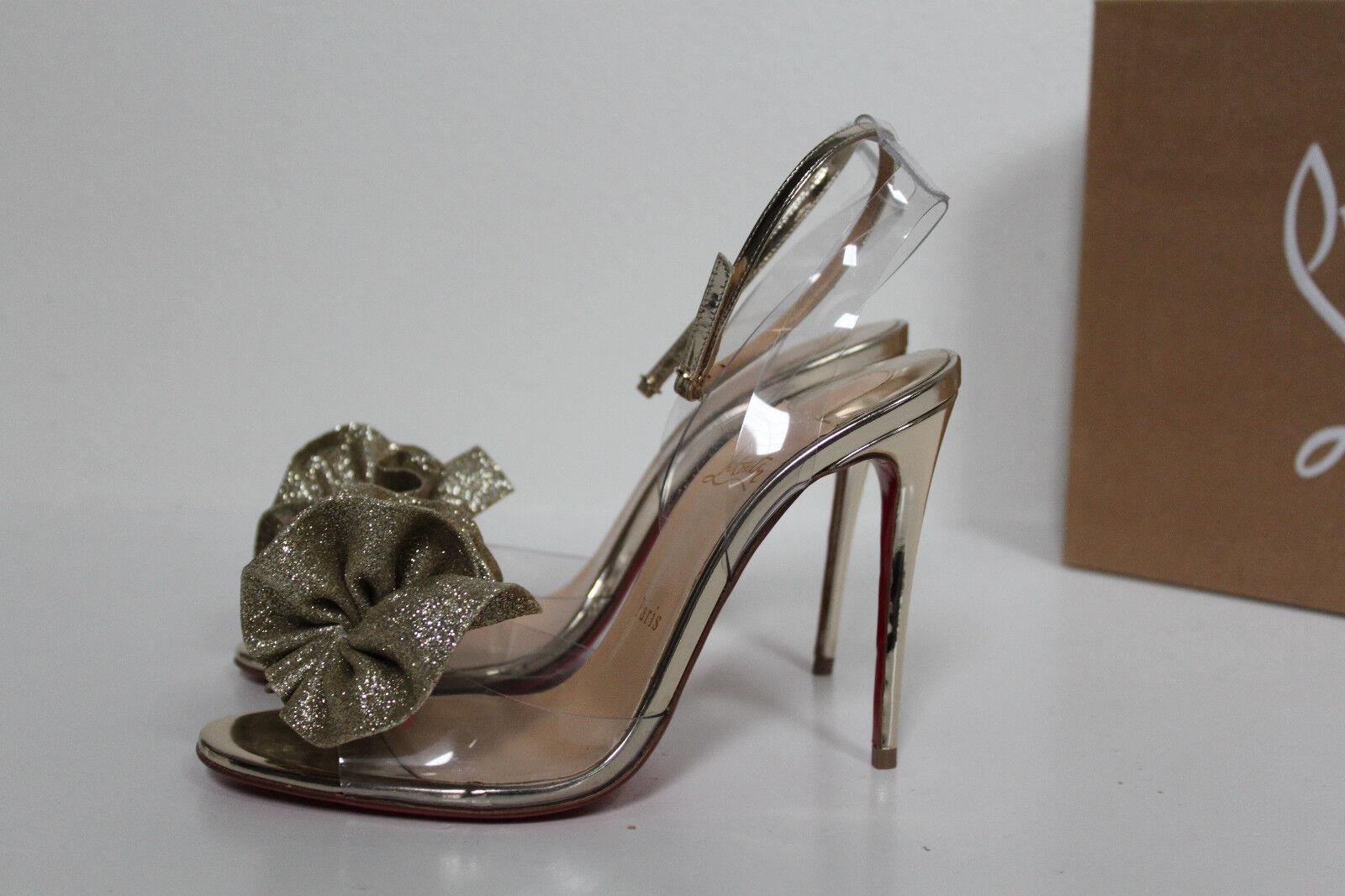Sz 8.5     38.5 Christian Louboutin Fossiliza Gold Clear Ankle Strap Sandal schuhe 1b1413