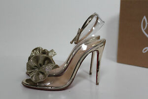 daec4a0ec74 Details about New sz 5 / 35 Christian Louboutin Fossiliza Gold Clear Ankle  Strap Sandal Shoes