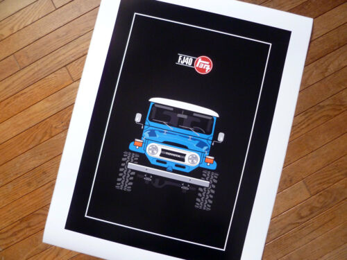 Toyota FJ40 Poster Blue Red Yellow Off Road Lifted 1937 Japanese Logo