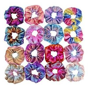 4//8Pcs Shiny Metallic Hair Scrunchies Ponytail Holder Elastic Ties Bands Girl 15