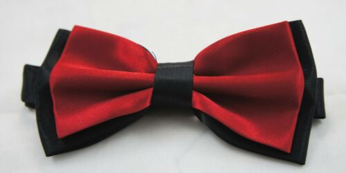 Boys Children Kids Two Toned Solid Bow Neck Tie Pre Tied Wedding Party Satin Set