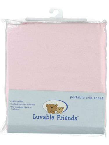 "Luvable Friends /""Solid/"" Portable Crib Sheet 24/"" x 38/"""