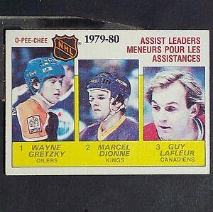 WAYNE-GRETZKY-DIONNE-LAFLEUR-1980-81-OPeeChee-162-Assist-Leaders-HOF