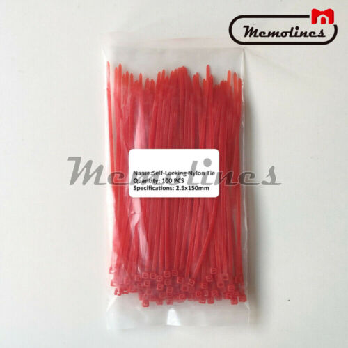 100PCS Self-locking Nylon Plastic Ties 2.5*100mm 150mm 200mm Zip Coloured Wraps