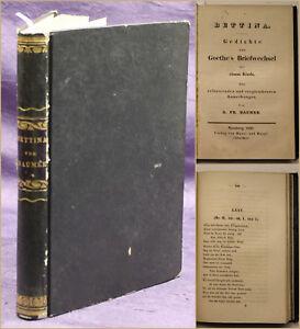Daumer bettina poemas de Goethe's canje de notas con un poniéndose 1837 SF