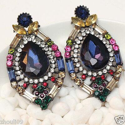 "fashion show lady Statement clear crystal long Ear Studs earrings  1 7/8"" e321"