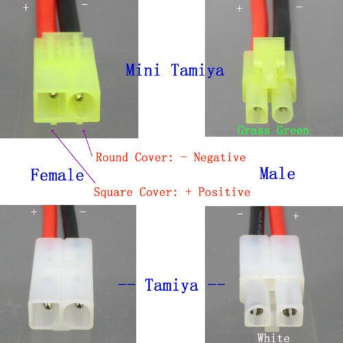 No Wires Connector Deans Style Adaptateur Mini-Tamiya Female to Male T-Plug
