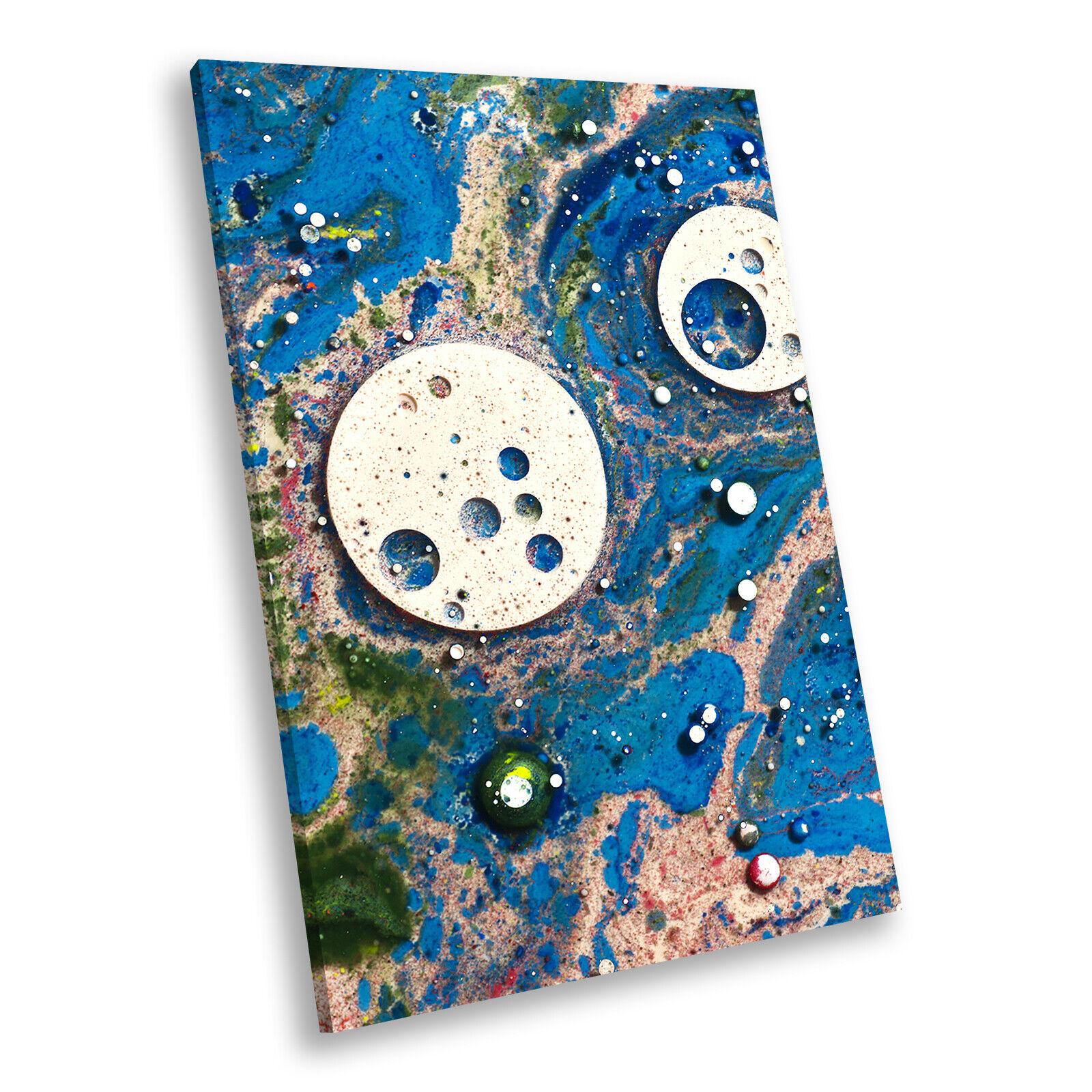 Blau Weiß braun Portrait Abstract Canvas Framed Art Large Picture