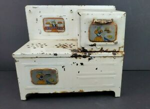Vintage-Marx-Pressed-Steel-Pretty-Maid-Metal-Toy-Oven-Stove-1940-039-s-1950-039-s
