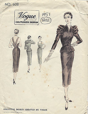 1951 Vintage VOGUE Sewing Pattern B30 DRESS & JACKET (1202)