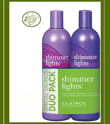 Clairol Shimmer Lights Blonde & Silver Shampoo + Conditioner 16 oz each (Combo)