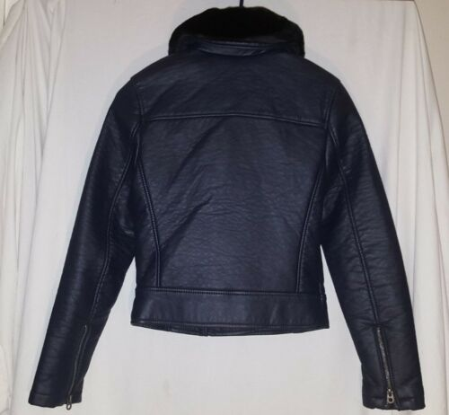 NEW MEMBERS ONLY NAVY BLUE FAUX LEATHER JACKET SIZE EX SMALL
