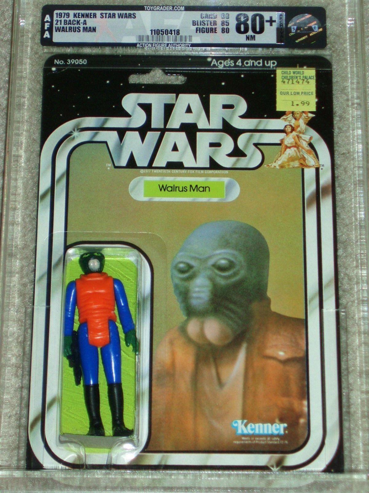 Retro Star Wars Kenner 1979 AFA 80+ Morsa hombre Anh 21 Back-una clara burbuja Moc