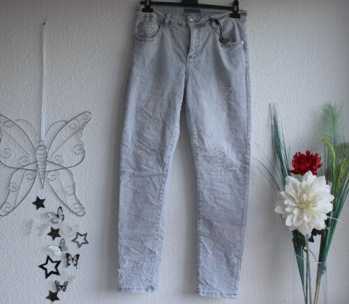 36-48 Damen Stretch Jeans  destroy Strass Hellgrau Batik Gr