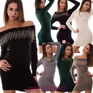 Miniabito-donna-pull-pullover-maxi-maglia-strass-maglione-nuovo-P2735