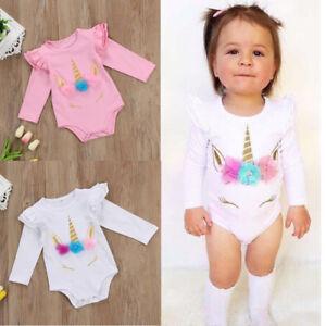 b69e20b063b5 Details about Newborn Baby Girls Unicorn Romper Bodysuit Jumpsuits Outfits  Sunsuits Clothes