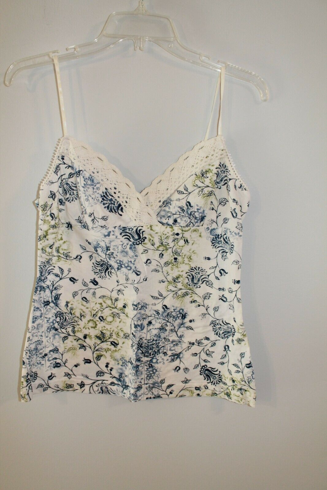 SELF ESTEEM blue green cream floral  v-neck sleeveless blouse tank top size L 7