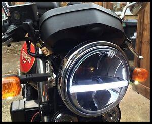 Headlight-LED-x1-DRL-Light-7-034-Cafe-Racer-Motorbike-Bike-Classic-E-APPROVED-720