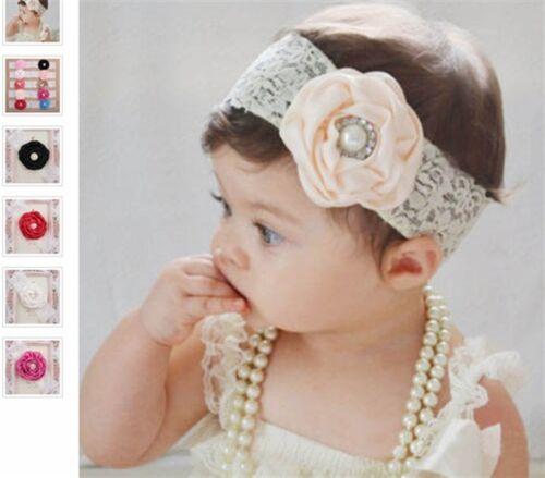 Fascia per capelli ragazza fiore pizzo satin fioritura gioielli pietra frontale Nastro Baby Battesimo