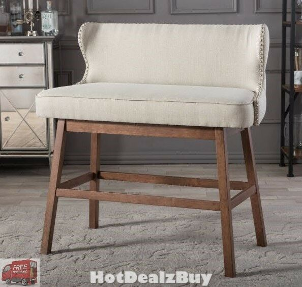 Astounding Modern 30 Bar Height Bench Stool Wood Fabric Kitchen High Chair Armless Seat Creativecarmelina Interior Chair Design Creativecarmelinacom