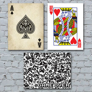 Gaming-Canvas-Art-Print-Video-Arcade-Poker-Blackjack-Playing-Cards-Home-Decor