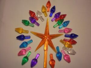 Details About Vintage Ceramic Christmas Tree Lights Bulbs Lg Orange Star W 25 Med Twists