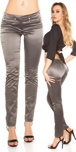 SeXy-Miss-Damen-Business-Satin-Stoff-Hose-Nadelstreifen-glanz-34-36-38-40-grau
