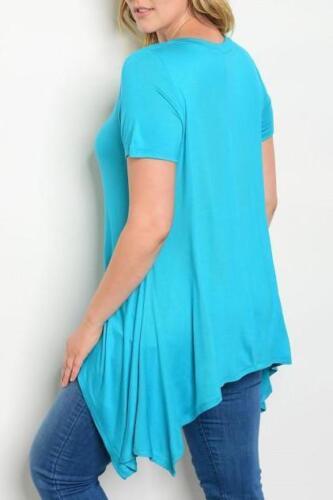 Plus Size Turquoise Lace Detail Handkerchief Top
