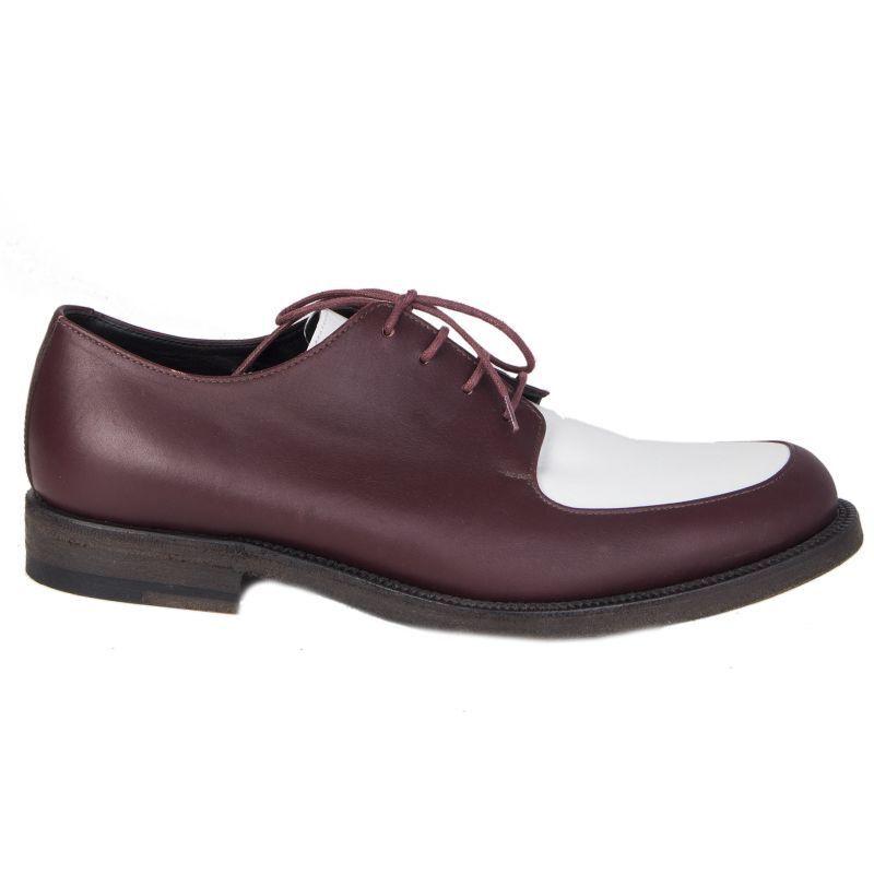 con il 60% di sconto 55935 auth CELINE burgundy & & & bianca leather Derby Oxford Flats scarpe 40.5  nuova esclusiva di fascia alta