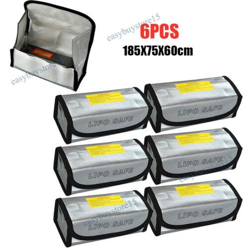 6x Lipo Akku Tasche Safe Bag 185X75X60mm Feuerfest Sicherheitstasche Feuerschutz