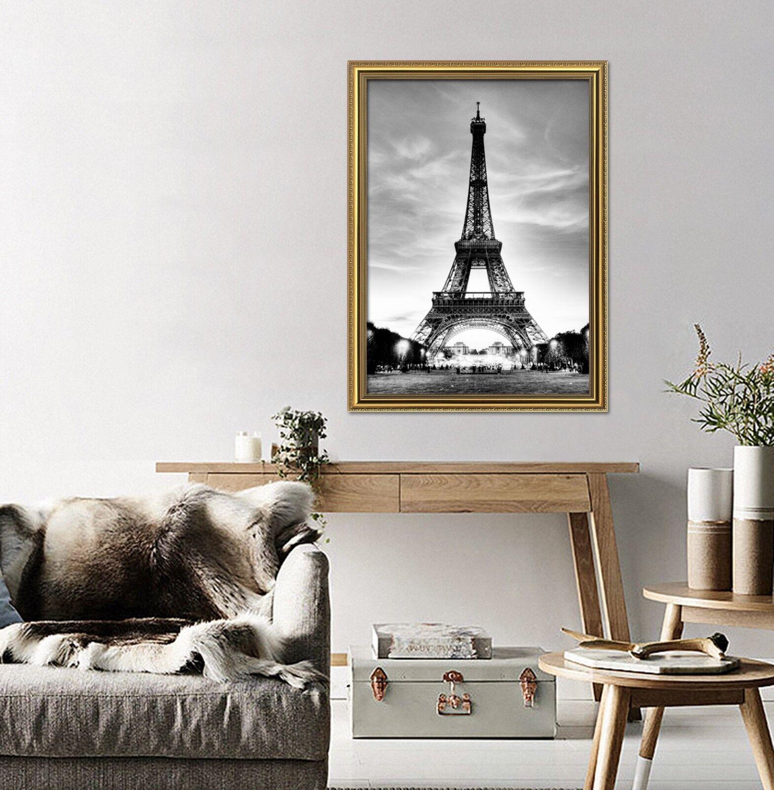 3D Torre Eiffel gris 22 Póster Enmarcado Decoración del Hogar Pintura de Impresión Arte AJ Wallpaper