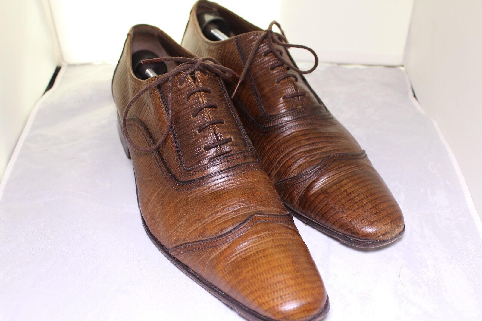 ZARA Classic Brown Leather Shoes WING-TIP LIZARD PRINT OXFORDS Sz 12 EUR 45 Scarpe classiche da uomo
