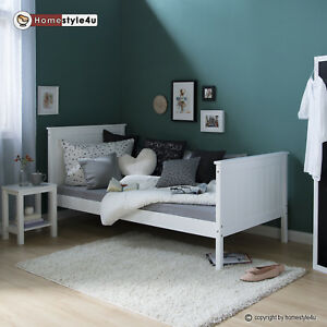 jugendbett einzelbett holzbett bettgestell 90x200 wei tagesbett bett kiefer ebay. Black Bedroom Furniture Sets. Home Design Ideas