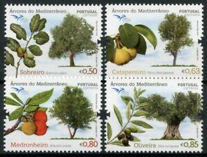 Portugal-Euromed-timbres-2017-neuf-sans-charniere-arbres-de-Mediterranee-nature-4-V-Set