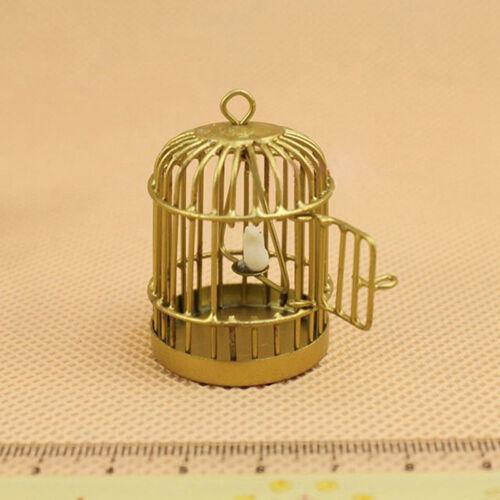 Toy Metal Bird Gold Cage W// White Bird 1//12 Dollhouse Miniature set