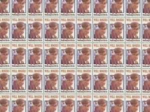 Will Rogers Mint Sheet of 50 Stamps, Scott #1801, MNH, Free Shipping! Nice!
