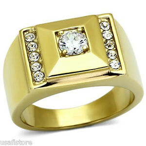 048ct Round Cut Clear CZ Stone Pyramid Gold EP 316SS Mens Ring