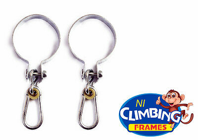 PAIR Round 100mm swing hooks galvanised steel post Swing set Climbing Frame