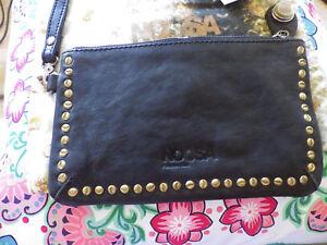 13ffbf60f8093 Image is loading Noosa-Amsterdam-Nivkh-Black-leather-clutch-purse-sued-