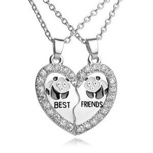 Collana-doppio-ciondolo-pendente-catenina-Best-Friends-PANDA-regalo-amica-cuore