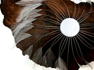 1 Piece Silver Gray whole Beaded Pinwheel Stripped Rooster Hackle Feather Pad