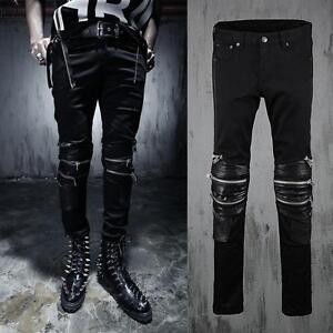 Stylish-Mens-Leisure-Punk-Slim-Fit-Gothic-Zip-Black-Skinny-Biker-Pants-Trousers